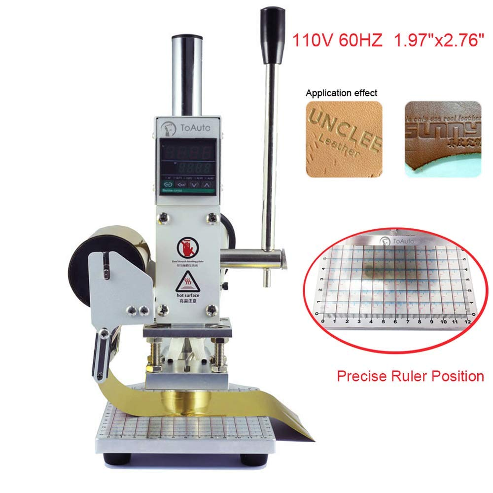 Hot Foil Stamping Machine 5 x 7cm Tipper Stamper Bronzing Card Foil Logo Embossing for for PVC leather PU and Paper Stamping (110V) (Renewed)