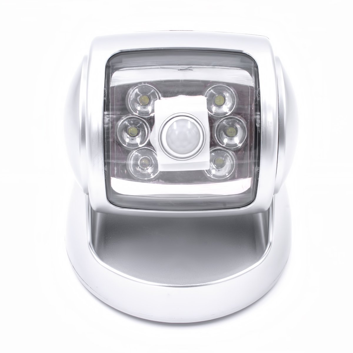Sensor de Movimiento Luz 6 LED Plata Seguridad Luz Para Exteriores - funciona con pilas rotativo súperbrillante Noche Luz para SENDERO, jardín o Patio de Trimming Shop (pack de 2)