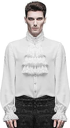 Devil Fashion Camisa Hombre Top Blanco Steampunk Gótico Victoriano Regency Aristocrat