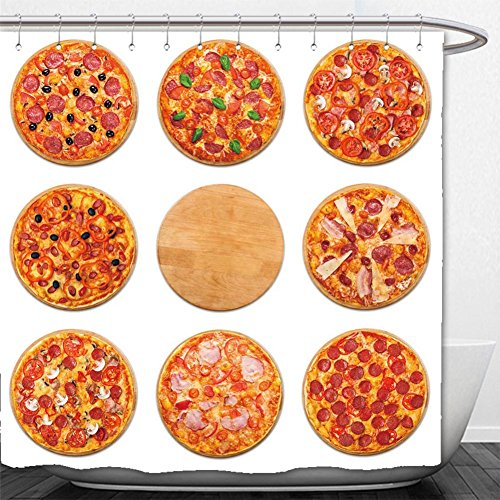 Beshowere Shower Curtain eight different pizza set for menu italian food traditional cuisine meat pizzas with salami (Golden Bee Menu)
