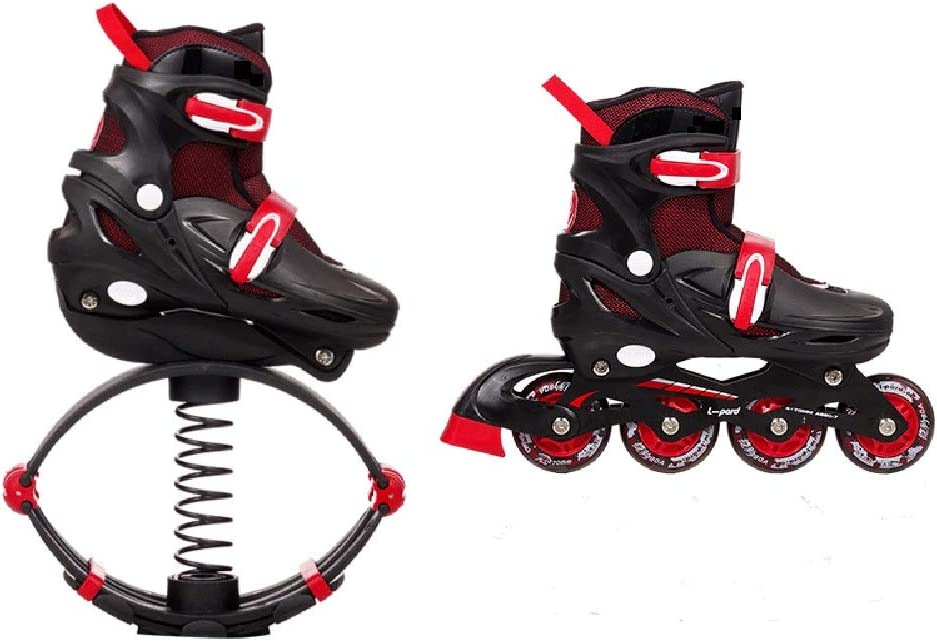 Dytxe 2 in 1 Inline Skates and Fitness Bounce Shoes for Kids Jumping Shoes for Adults Lose Weight Shoes Indoor and Outdoor Use Black//Red