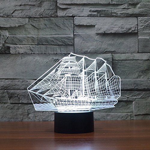 Comics+3D+Night+Lamp+ Products : Sailing Shape Acrylic 3D Led Night Light Table Lamp Usb Touch Switch Xmas Gift