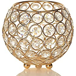 VINCIGANT Gold Crystal Votive Candle Holders for Home Decor Anniversary Celebration Wedding Coffee Table Decorative Centerpiece,Holiday Decoration Moroccan Candle Lantern Bowl Candle Jar Candelabra