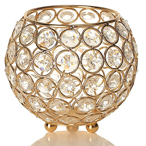 VINCIGANT Gold Crystal Votive Candle Holders for Valentines Day Home Decor Wedding Coffee Table Decorative Centerpiece Holiday Decoration Moroccan Candle Lantern Bowl Candle Jar Candelabra
