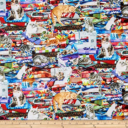 Timeless Treasures Digital Cats On Quilts Fabric, Multi, Fabric By The Yard ()