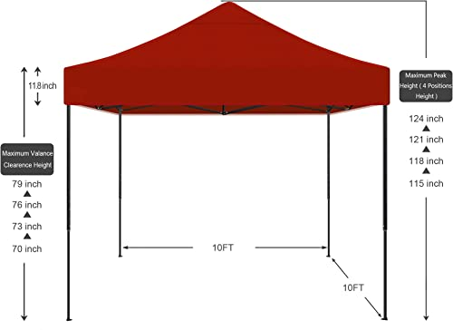 AMERICAN PHOENIX 10×10 Pop Up Canopy Tent Portable Instant Adjustable Easy Up Tent Outdoor Market Canopy Shelter 10'x10' Black Frame