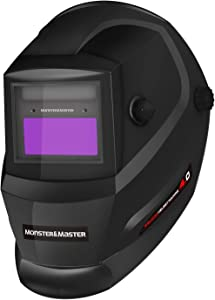 Monster&Master Large Viewing Screen Auto Darkening Welding Helmet, 2 Arc Sensor Wide Shade, MM-WH-003