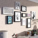 ALUS- 10 Multi Photo Frames Set Modern Minimalist Style Black White Wooden Bedroom Study Living Room Dining Room Wall Combination