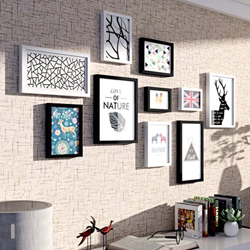 ALUS- 10 Multi Photo Frames Set Modern Minimalist Style Black White Wooden Bedroom Study Living Room Dining Room Wall Combination by CXM-Photo Wall