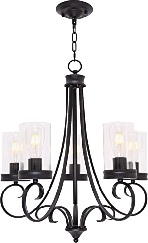 Lucidce Contemporary Chandelier 5 Light Black Pendant Lighting Farmhouse Ceiling Dining Room Lighting Fixtures Hanging for Living Room Bed Room