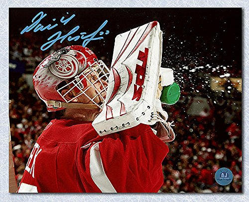 Dominik Hasek Detroit Red Wings Autographed 8X10 Close Up Photo - Autographed Hockey Photos - Dominik Hasek Detroit Red Wings