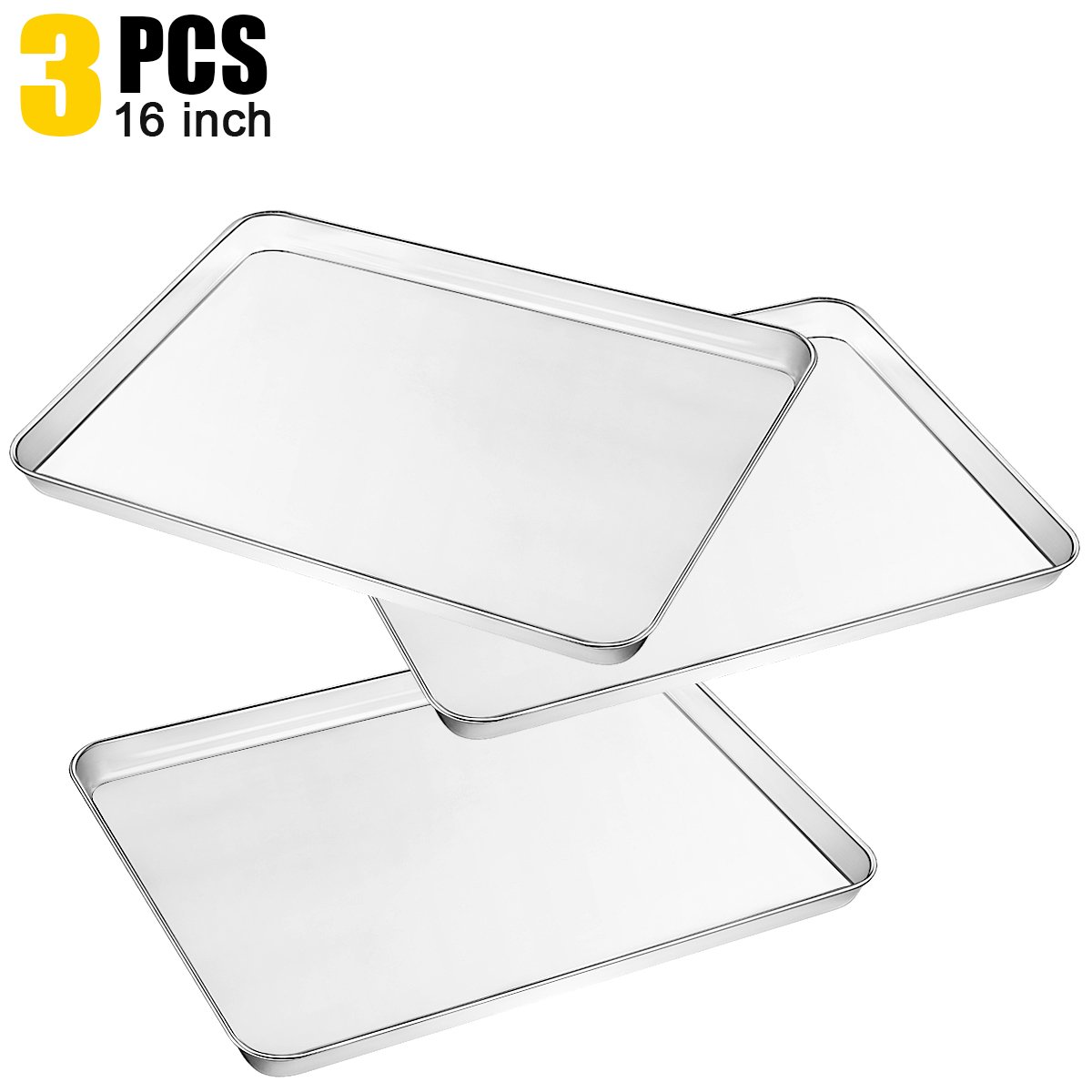 3 Piece Large Baking Sheet, Metal Stainless Steel Baking Pan Cookie Sheets for Toaster Oven, Tray Pans Non Toxic, Mirror polishing Easy Clean, Dishwasher Safe by Umite Chef, 16 x 12 x 1 inch