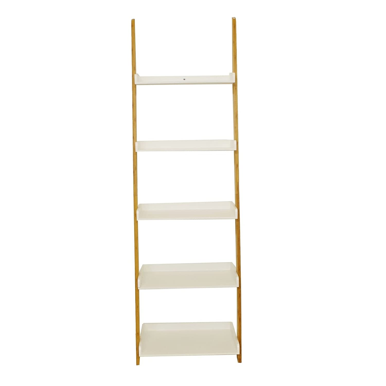 Home /& Style Regal 5B/öden Bambus wei/ß 54x35x178cm Leiterregal Anstellregal Bad Anlehnregal