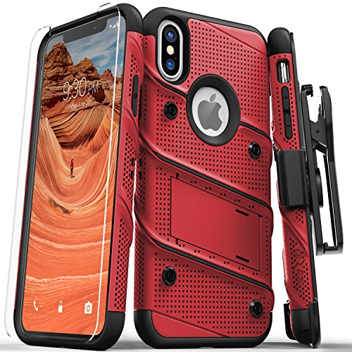 Zizo Bolt Series Compatible with iPhone Xs Max case Military Grade Drop Tested with Tempered Glass Screen Protector, Holster, Kickstand RED Black