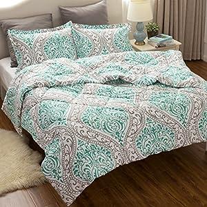 Full/Queen Comforter Duvet Insert with Corner Ties-Classics Green Damask Design Down Alternative Comforter(88