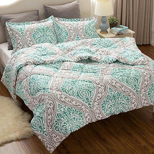 Full/Queen Comforter Set Classics Green Damask Design Down A