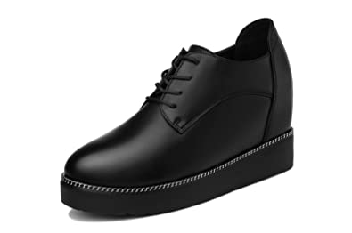 5be6e33ba8 Women's Platform Lace-Up Height Increasing Square Toe PU Leather Oxfords  Shoe Black (US5