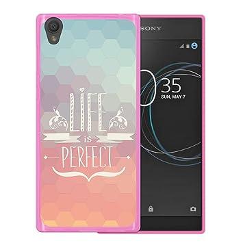 WoowCase Funda para Sony Xperia L1, [Sony Xperia L1 ] Silicona Gel Flexible Frase Life is, Carcasa Case TPU Silicona - Rosa