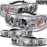 For 2000-2006 GMC Sierra/Yukon Denali Halo Projector Headlights w/LED + Bumper Lights 2001 2002 2003 2004 2005