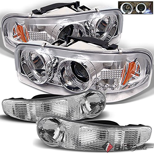 - Xtune For 2000-2006 GMC Sierra/Yukon Denali Halo Projector Headlights w/LED + Bumper Lights 2001 2002 2003 2004 2005