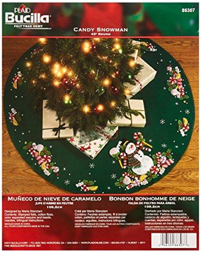Applique Kit - Bucilla Candy Snowman Tree Skirt Felt Applique Kit, 86307 43-Inch Round