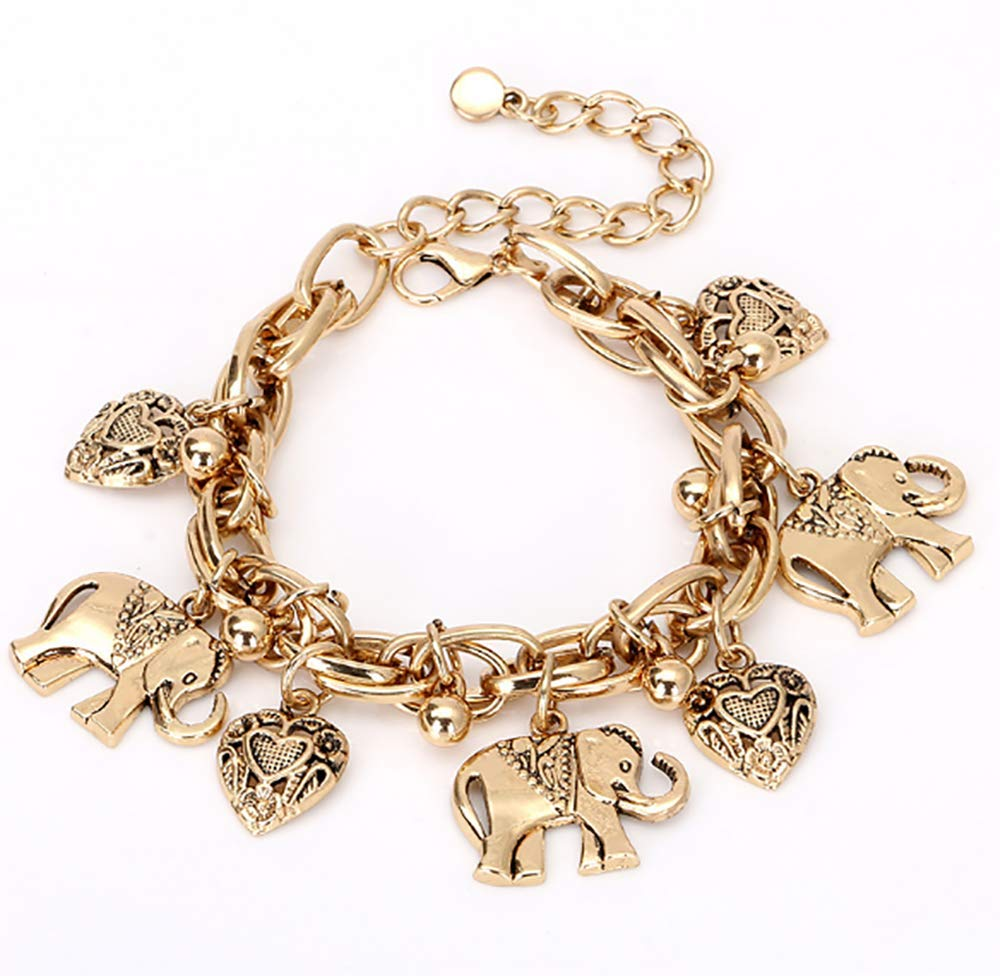 Deniferymakeup Vintage Bracelet Alloy Carved Elephant Heart Pendant Anklet Bracelet Dual-use Jewelry Foot Accessories (Gold)