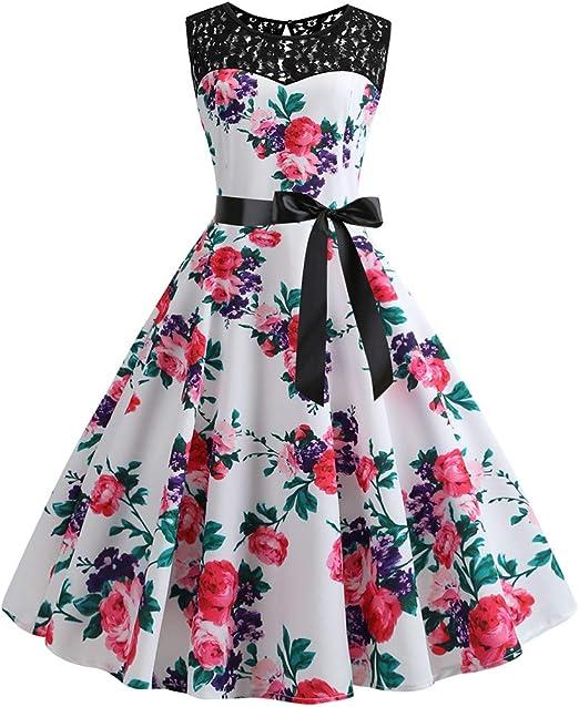Toppshe Womens Halter Sleeveless Vintage Print Long Maxi Dress Lace Splice Elastic Waist Dress