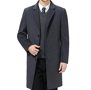 b3464da5e95e Herren Wollmantel Dicker Wärmer Wintermantel T-Shirt Langer Hase Tüll Mantel  Trenchcoat,Grey-