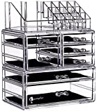 """Cq acrylic 6 Tier Clear Acrylic Cosmetic Makeup Storage Cube Organizer with 7 Drawers. It Consists of 3 Separate Organizers, Each of Which can be Used Individually -9.5""""x6.5""""x11.8"""""""