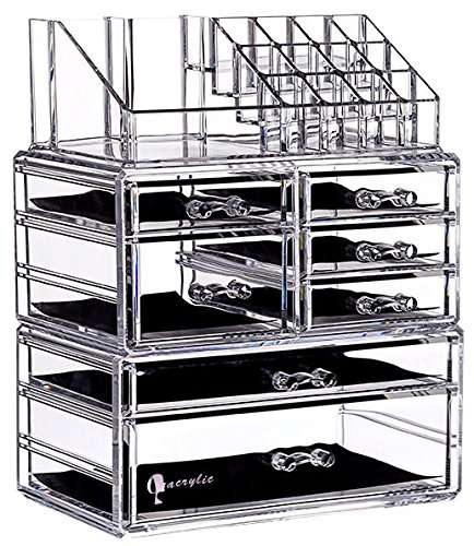 Cq acrylic 6 Tier Clear Acrylic Cosmetic Makeup Storage Cube Organizer with 7 Drawers. It Consists of 3 Separate Organizers, Each of Which can be Used Individually -