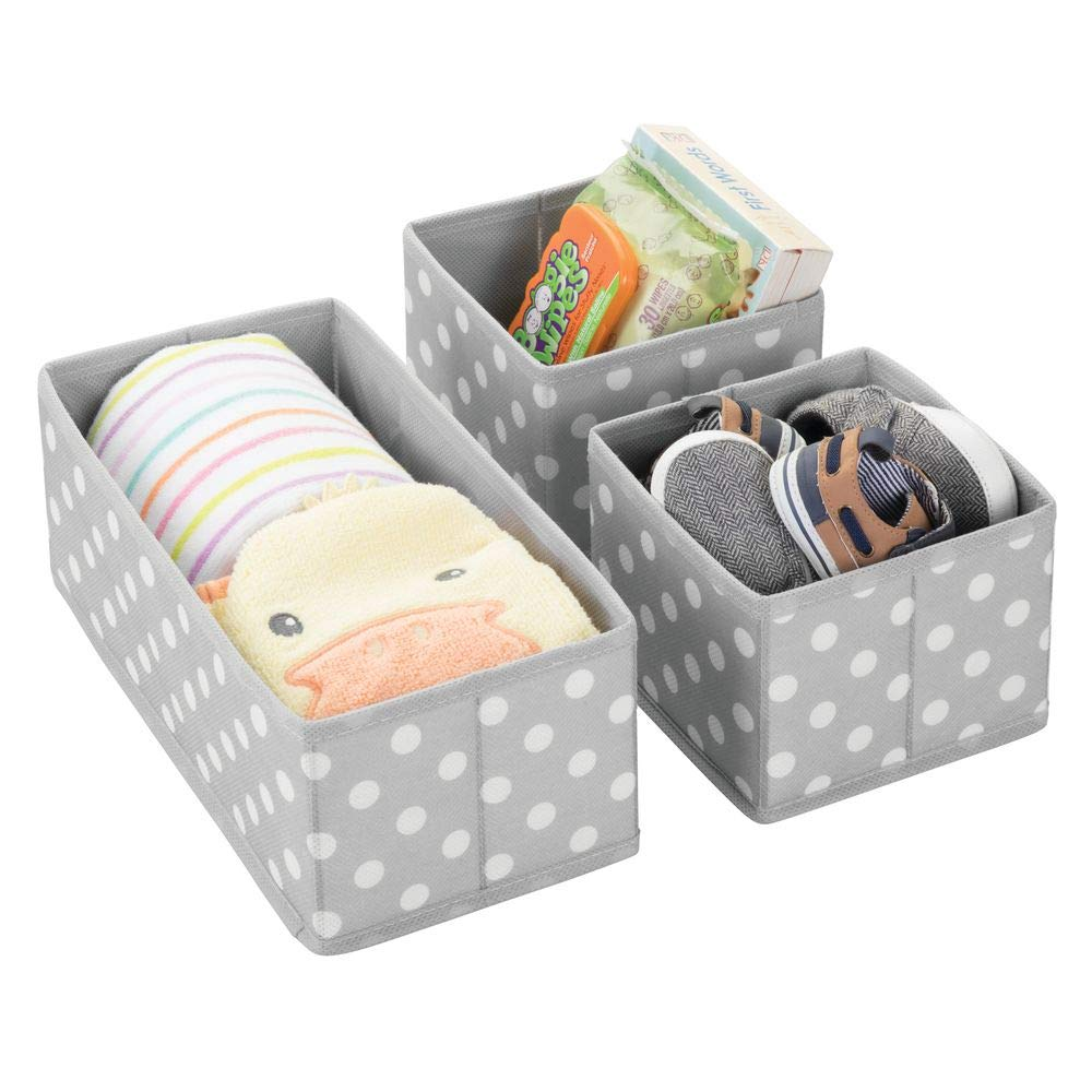 Textured Print Playroom mDesign Soft Fabric Dresser Drawer and Closet Storage Organizer for Kids//Toddler Room Bedroom Gray Nursery Set of 3 Organizing Bins in 2 Sizes