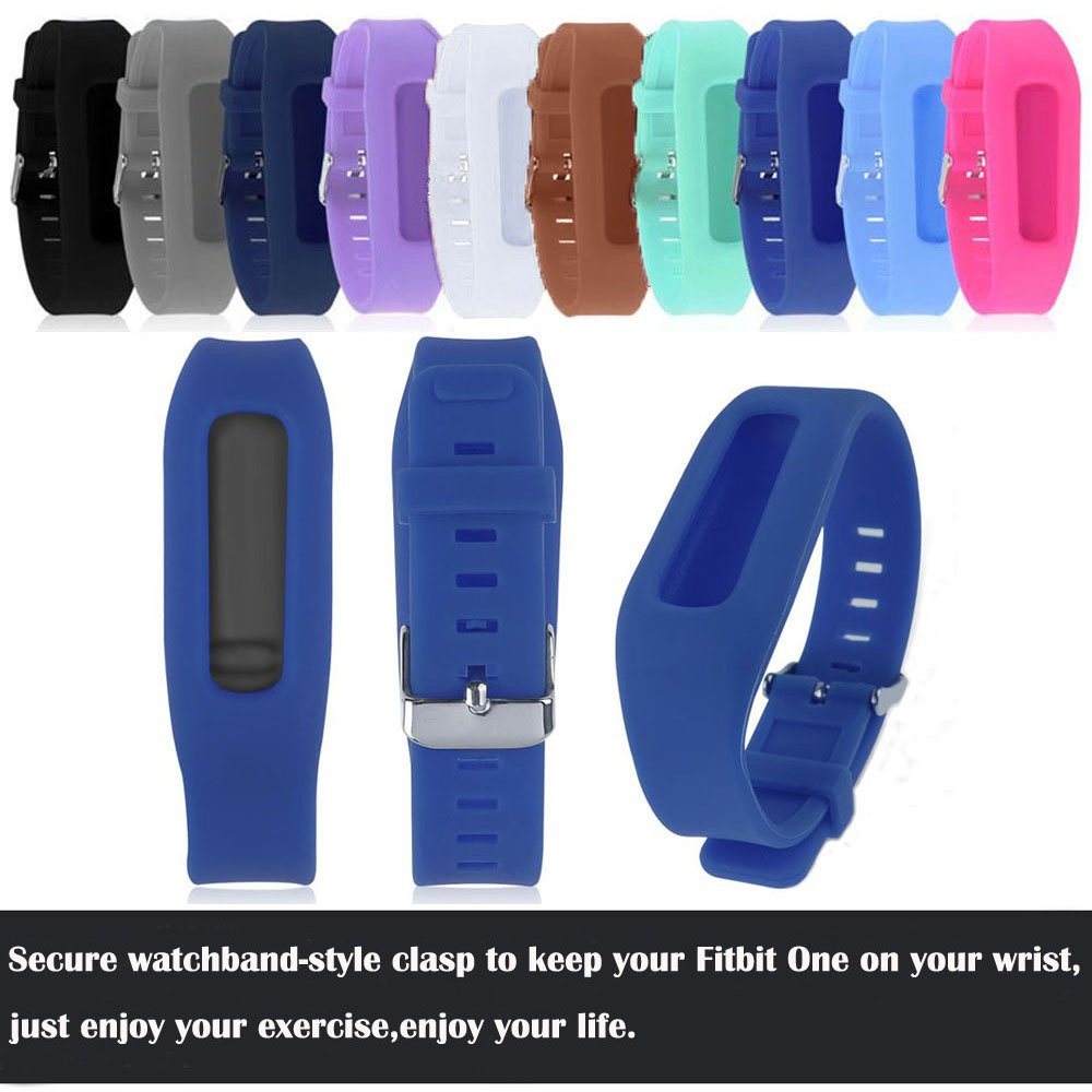 QGHXO Buckle Bracelet for Fitbit One, Replacement Silicone Band with Chrome Watch Clasp and Fastener Buckle for Fitbit One by QGHXO