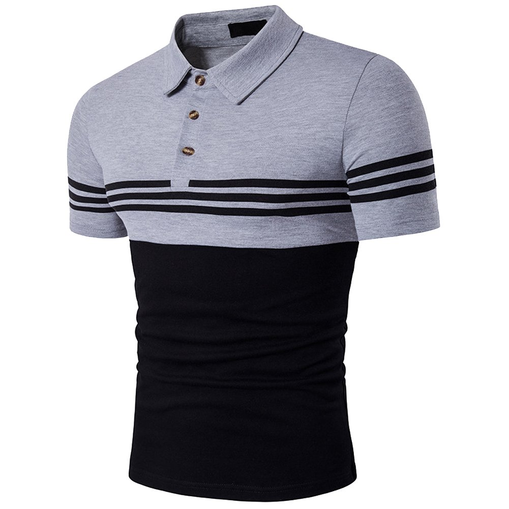4aca26dae Cottory Men s Fashion Stripe Contrast Color Short Sleeve Polo T Shirt Grey  Black XX-Large