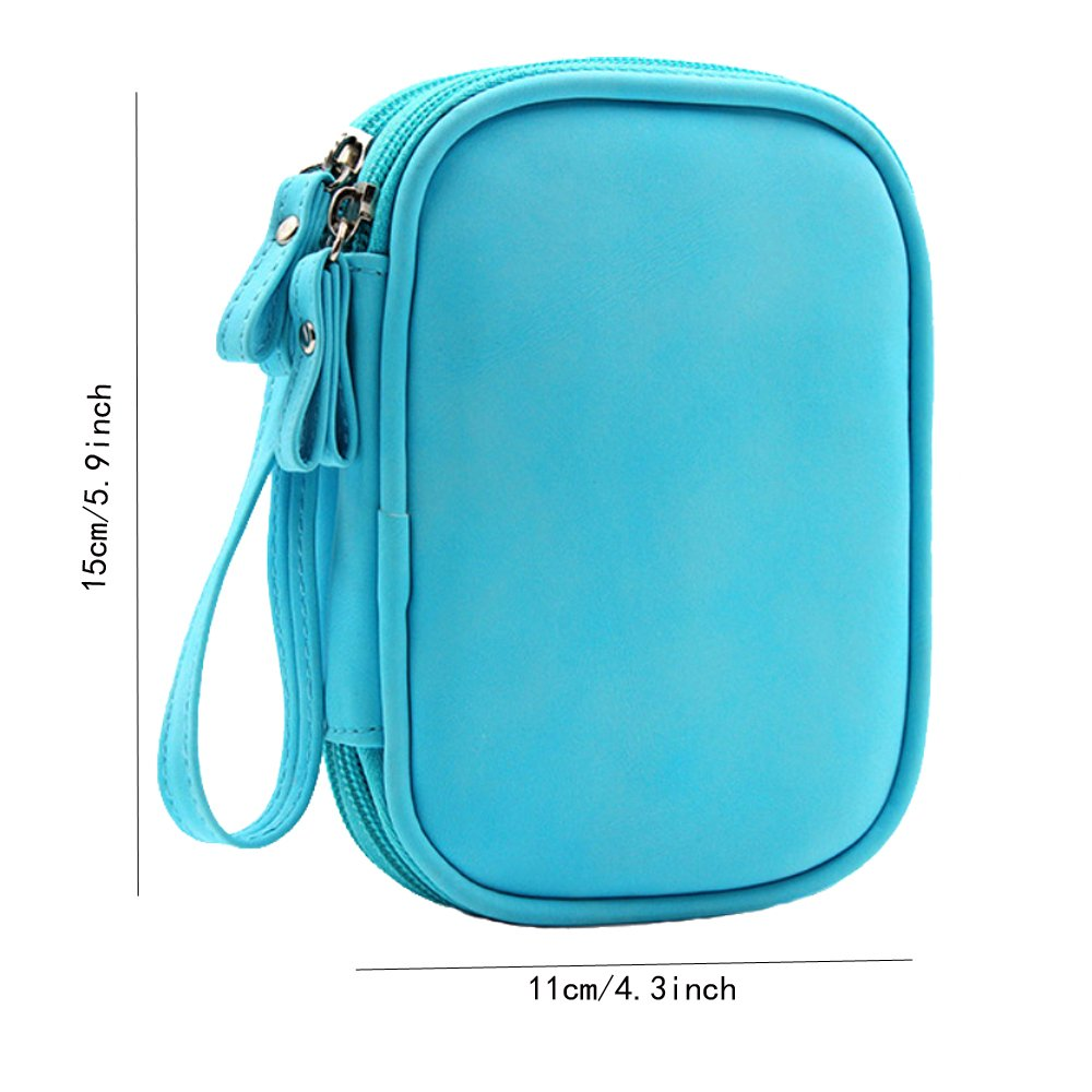 Honeystore Double Layer Gadget Organizer Universal Travel Gear Electronics Accessories Bag Electronics Carrying Case for USB Cable, Flash Drive, Hard Disk, Earphone, SD Card, Power Bank and More Blue by Honeystore (Image #2)
