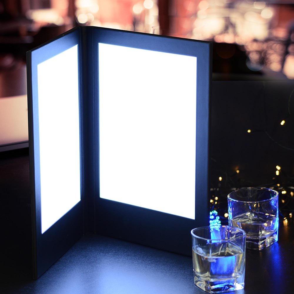 Yescom 8.5'' x 14'' 2-panel LED Backlit Illuminated Black Leatherette Menu Holder check Displayer