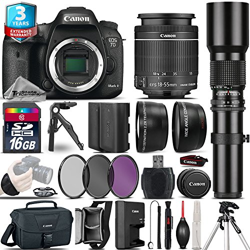 Canon EOS 7D Mark II DSLR Camera + Canon 18-55mm IS STM Lens + 500mm preset Zoom Lens+ 2.2x Telephoto Lens + 0.43X Wide Angle Lens + 16GB Class 10 Memory Card + UV-CPL-FLD - International Version by TriStateCamera
