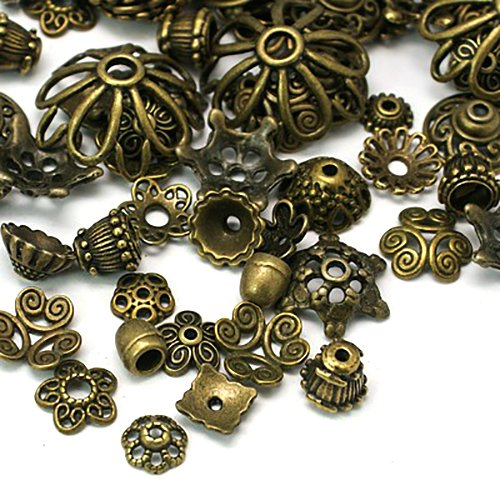 Wholesale Bead Caps (100 Antique Bronze Bead Caps for Jewelry Making- Hypoallergenic Nickel Free)