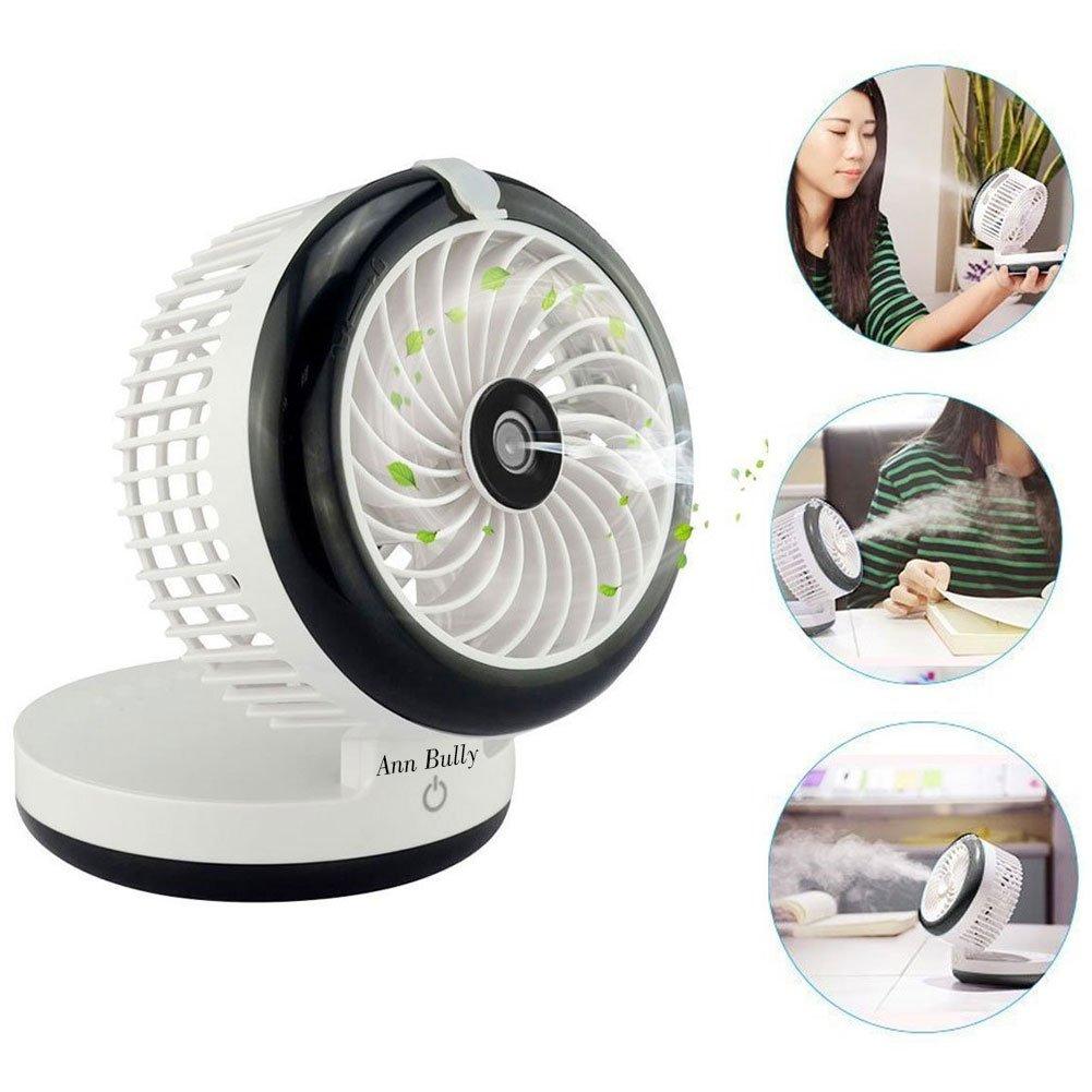 Mini Portable Fan, Portable USB Mini Table Fan with 2000mAh Power Bank For Portable Air Conditioning Fan, Humidifier Fan, Portable Water Spray Fan and Desktop Humidifier (Black)