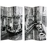 Oriental Furniture Unique Cityscape Wall Art Print Image Room Divider, 6-Feet Venice Italy Canal and Gondola Large Photo Folding Floor Screen