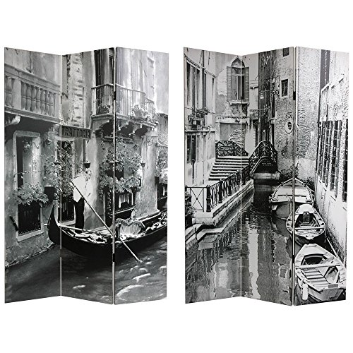 Oriental Furniture 6 ft. Tall Double Sided Scenes of Venice Canvas Room Divider