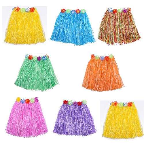 HLJgift Kid's Flowered Luau Hula Skirts Pack of 8 (Assorted Colors) -