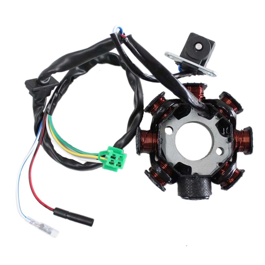 Poweka Magneto Stator Ignition Coil 8 Pole 5 Wires for Gy6 50CC 60CC 80CC 125cc 150cc Scooter Moped Go Kart ATV 00032