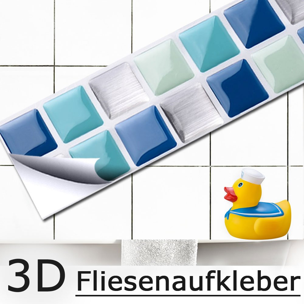 7er Set 25,3 X 3,7 Cm Blau Türkis Silber Fliesenaufkleber Mosaik 3D