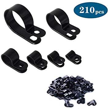 """Cable Clamp 200Pc Black Nylon Screws Plastic R Type Cable Clamps 3//16/"""" 1//4/"""" 3//8/"""""""