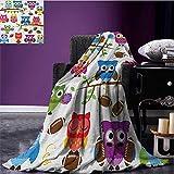 Owls park blanket Sporty Owls Cheerleader League Team Coach Football Themed Animals Cartoon Art Style soft blanket Multicolor size:59''x35.5''