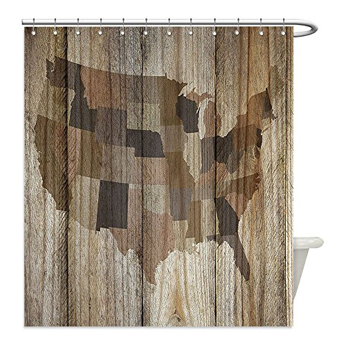Liguo88 Custom Waterproof Bathroom Shower Curtain Polyester Rustic Map Decor USA America Map Silhouette over Vertical Timber Wooden Textured Background Brown Decorative bathroom