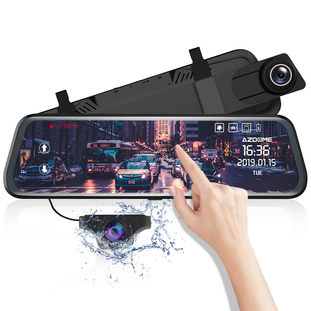 AZDOME 10'' Mirror Dash Cam,Dual Lens Touch Screen,1080P HD Front Camera and 720P Backup Camera with Lane Departure Warning System,Streaming Media Camera,Night Vision,Parking Monitor,G-Sensor,WDR