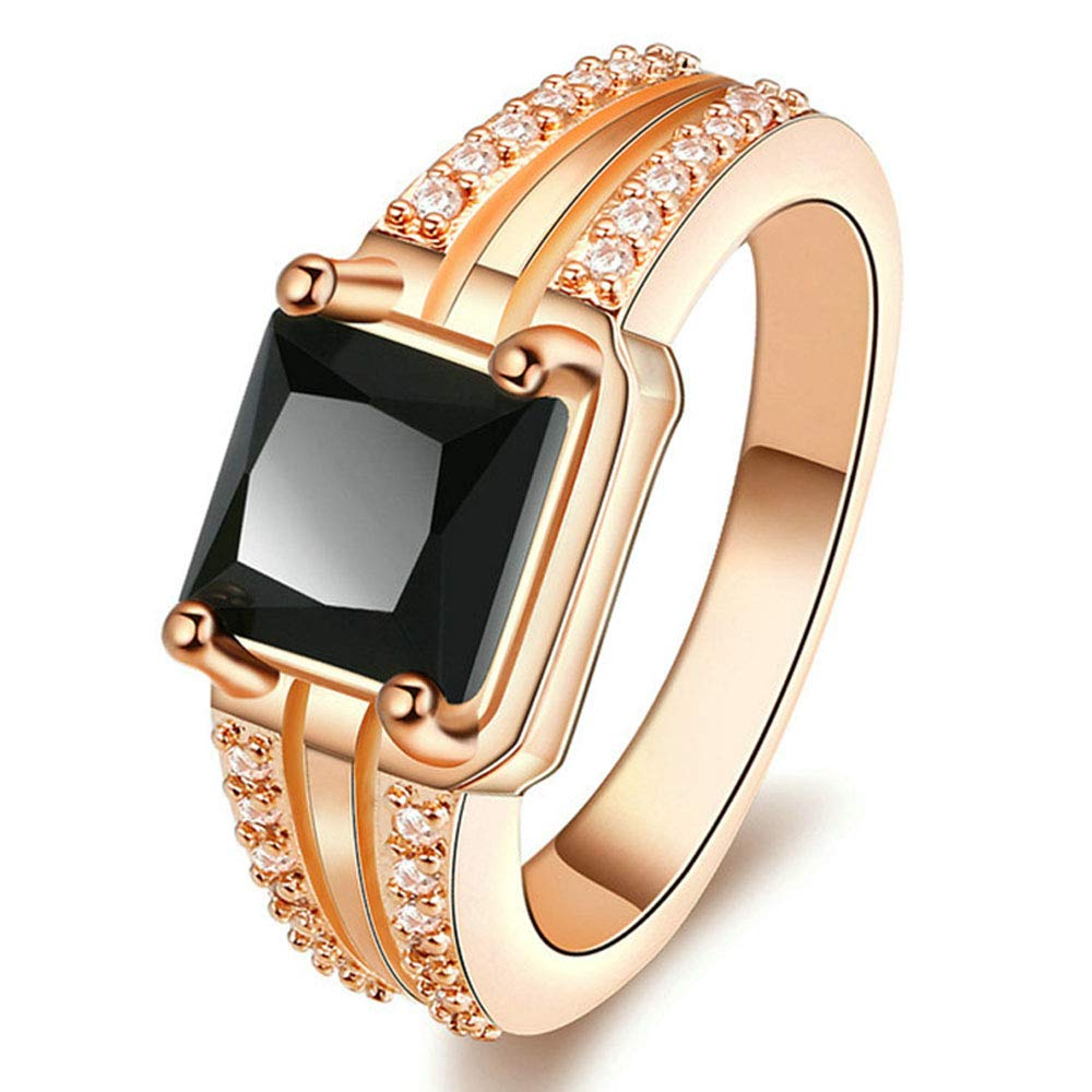 Retro 18k Rose Gold Black Simulated Diamond Cubic Zirconia Ring Champagne Gold Wedding Promise Rings,Size 8