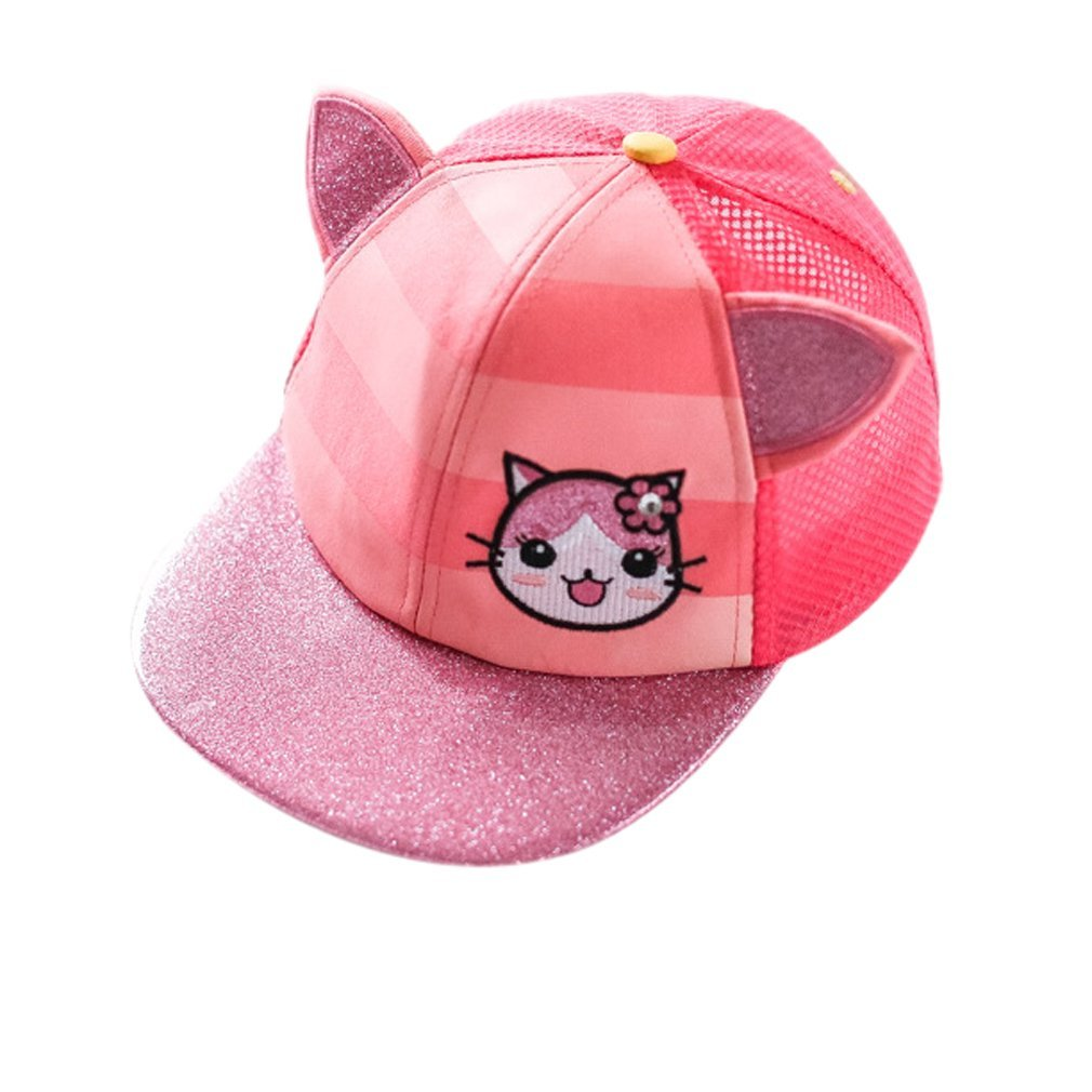 Girls Cat Ear Mesh Baseball Cap Embroidered Snapback Hat Pink   Amazon.co.uk  Clothing d008149a052