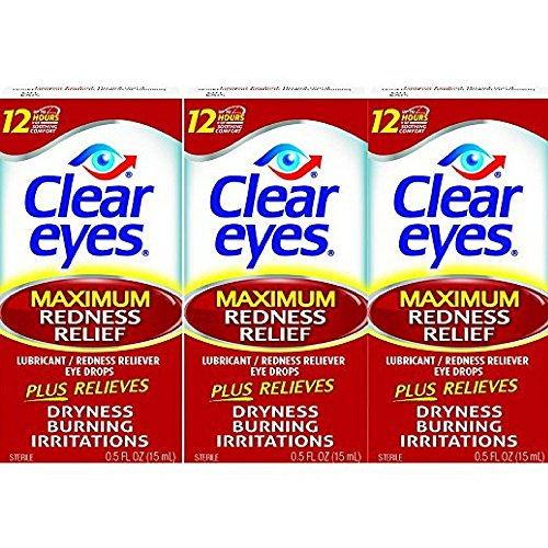 Clear Eyes Maximum Strength Redness Relief - #1 Selling Brand of Eye Drops - Relieves Dryness, Burning, and Irritations - Up to 12 Hours of Soothing Comfort - 0.5 Fl Oz (Pack of 3)